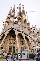 Spain, Barcelona. The Sagrada Família designed by Antoni Gaudí. Passion Facade.