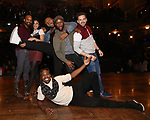 Antuan Magic Raimone, Lauren Boyd, Sean Green Jr., Justin Dine Bryant, Donald Webber and Neil Haskell attend the eduHAM Q & A with the cast of Broadway's 'Hamilton' at The Richard Rodgers Theatre on April 25, 2018 in New York City.