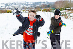 Anthony O'Connor and Cody McMahon throwing snow balls in Currow last Friday morning