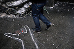 February 20, 2015. Kiev, Ukraine. Along boulevard Grushevskogo (pronounced Hrushevskoho in Ukrainian), contours of corpses of some of the protesters killed during the last days of Euromaidan's protests have been painted on the ground. Credits: Niels Ackermann / Rezo.ch