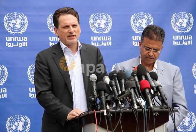 Commissioner-General of the UN Relief and Works Agency (UNRWA) Pierre Krahenbuhl speaks during a press conference, in Gaza city on May 22, 2018. Photo by Mahmoud Ajour