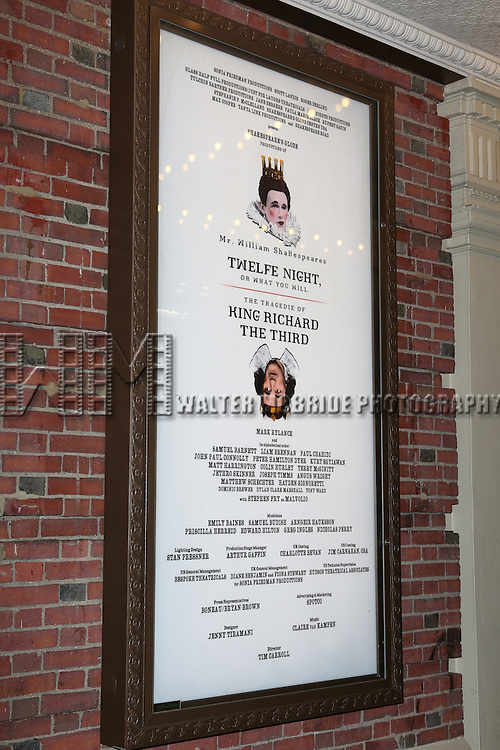 Theatre Marquee for the Broadway Opening Night Performance of 'Twelfth Night' at the Belasco Theatre on November 10, 2013 in New York City.