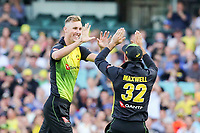 Billy Stanlake celebrates taking his first wicket for Australia with Glenn Maxwell during the T20 international tri-series, Australia v New Zealand Black Caps. Sydney Cricket Ground, NSW, Australia. 3 February 2018. Copyright Image: David Neilson / www.photosport.nz