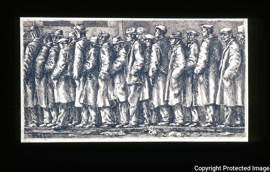 American Painters:  Reginald Marsh--Bread Line, 1932.  Etching. Whitney Museum American Art, 1969.