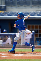 Dunedin Blue Jays Cullen Large (4) bats during a Florida State League game against the Charlotte Stone Crabs on April 17, 2019 at Charlotte Sports Park in Port Charlotte, Florida.  Charlotte defeated Dunedin 4-3.  (Mike Janes/Four Seam Images)