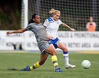 Kia McNeill (16) of the Philadelphia Independence fights for the ball with Kelly Smith (10) of the Boston Breakers during the game at Quick Stadium in Chester, PA.  The Philadelphia Independence defeated the Boston Breakers, 2-0.