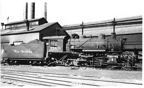 D&amp;RGW #1169 with Salida shop building in background.<br /> D&amp;RGW  Salida, CO  Taken by Payne, Andy M. - 5/2/1955