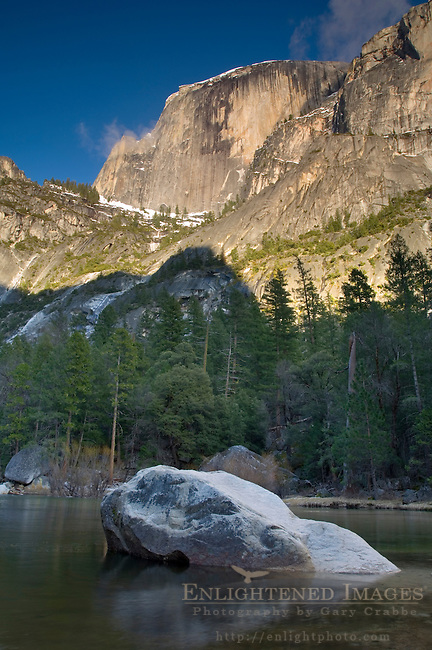 Granite boulder in water below Half Dome, Lower Pool, Mirror Lake, Yosemite National Park, California