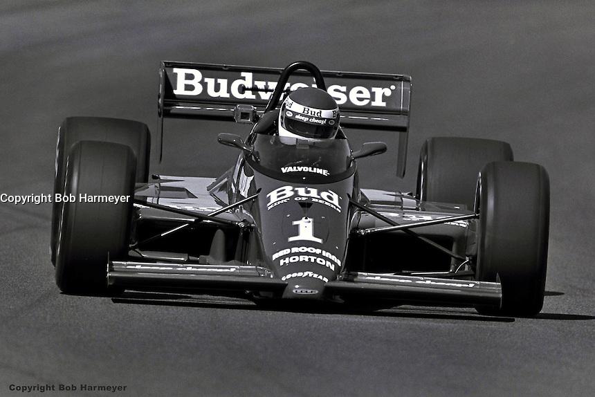 PHOENIX, AZ - APRIL 12: Bobby Rahal drives his Lola T87/00/Cosworth in the Checker 200 on April 12, 1987, at Phoenix International Raceway near Phoenix, Arizona.