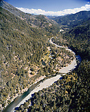 USA, California, Aerial view of the Salmon River, Forks of Salmon, Otter Bar Kayaking School