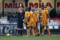Calvin Ekpiteta of Merstham is shown a yellow card during Hornchurch vs Merstham, BetVictor League Premier Division Football at Hornchurch Stadium on 15th February 2020