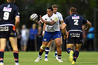 Anthony Perenise of Bath Rugby receives the ball. Pre-season friendly match, between Edinburgh Rugby and Bath Rugby on August 17, 2018 at Meggetland Sports Complex in Edinburgh, Scotland. Photo by: Patrick Khachfe / Onside Images