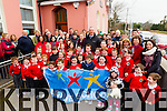 Kerry Star Kieran Donaghy with the pupils, teachers and parents of Derryquay National School who were awarded the <br /> Active School Flag at a celebration at the school on Wednesday.