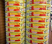 Canned sardines in a grocery store in Richmond Hill in the New York borough of Queens on Thursday, June 25, 2015. The neighborhood of Richmond Hill is a polyglot of ethnic cultures. It is home to Pakistanis, Indians, Guyanese and has a large Sikh population.  (© Richard B. Levine)