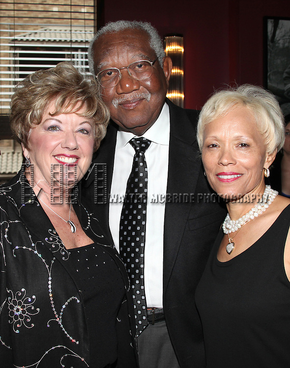Michele Dedeaux Engemann with Bill & Brenda Galloway.attending the Pasadena Playhouse Pre-Broadway Opening Night Reception for 'Baby It's You!' at Angus Restaurant in New York City.