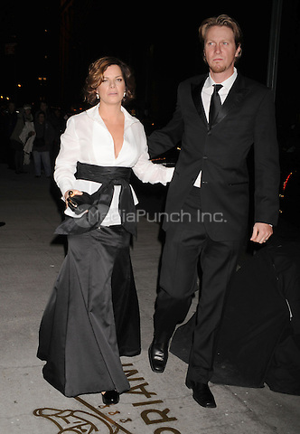 Marcia Gay Harden and Thaddaeus Scheel arriving to the Fashion Group International's 25th Annual Night of Stars at Cipriani Wall Street in New York City. October 23, 2008. Credit: Dennis Van Tine/MediaPunch