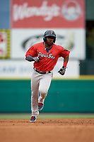 Pawtucket Red Sox Rusney Castillo (38) running the bases during an International League game against the Rochester Red Wings on June 28, 2019 at Frontier Field in Rochester, New York.  Pawtucket defeated Rochester 8-5.  (Mike Janes/Four Seam Images)