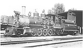 3/4 fireman's-side view of D&amp;RGW #318 at Montrose engine house.<br /> D&amp;RGW  Montrose, CO  Taken by Wurm, Ted - 7/17/1939