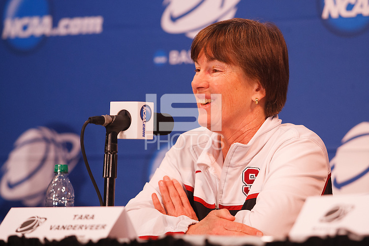 STANFORD-March 23, 2013: Tara VanDerveer,, head coach, during the NCAA press conference Saturday Morning on the day before the first round of the NCAA Division 1 Women's Basketball Championship is played at Maples Pavilion.