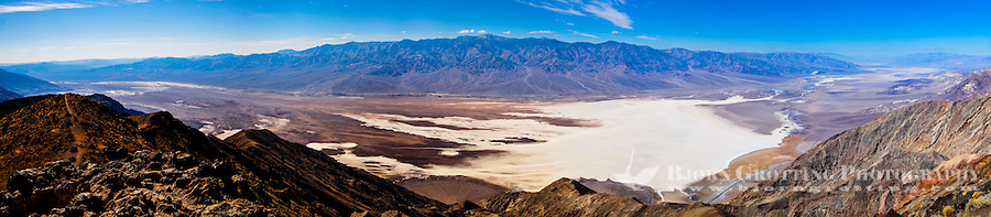 United States, California, Death Valley. From Dante's View 5,500 feet (1,700 m) above sea level. Panorama view of central part of Death Valley with the Badwater Basin.