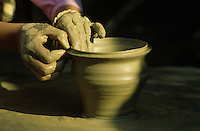 Close up of pottery work