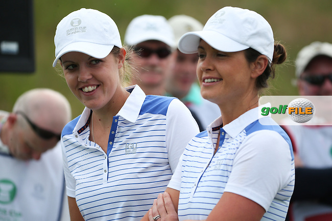 Meghan MacLaren and Maria Dunne during Friday Foursomes at the 2016 Curtis Cup, played at Dun Laoghaire GC, Enniskerry, Co Wicklow, Ireland. 10/06/2016. Picture: David Lloyd | Golffile. <br /> <br /> All photo usage must display a mandatory copyright credit to &copy; Golffile | David Lloyd.