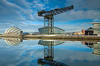The Stobcross (Finnieston Crane), the Armadillo, the SSE Hydro and the River Clyde, Pacific Quay, Glasgow