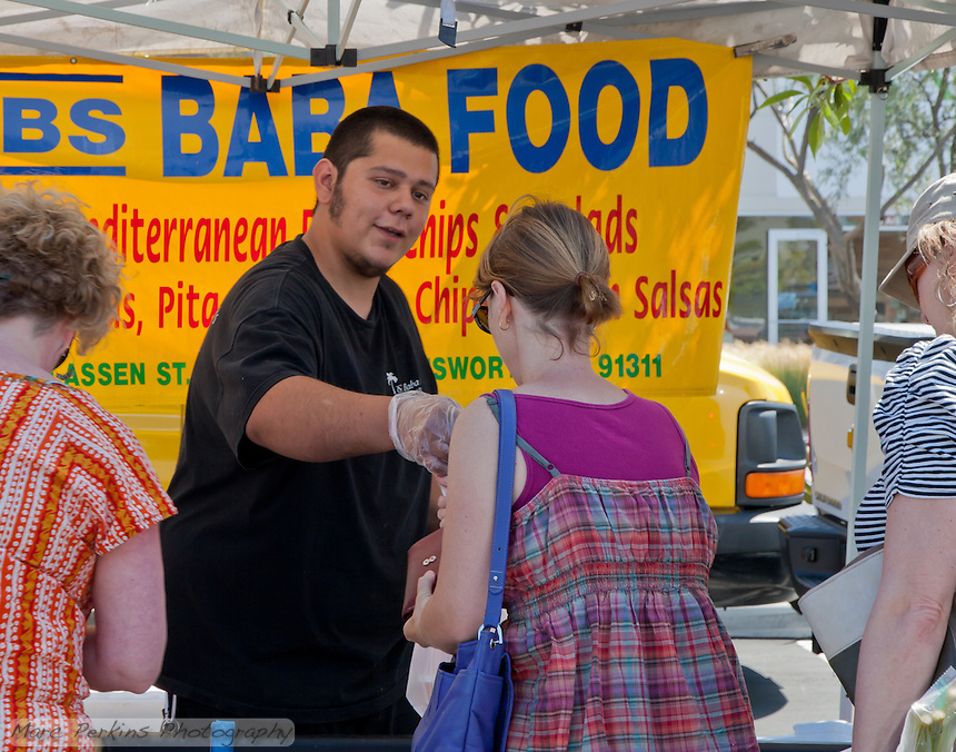 David interacts with three customers.  SR.