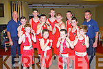 BOXING: The member's of  the Tralee boxing club who competed at the Tralee ABC tournament at the Central hotel, Tralee on Saturday front l-r: Michael McCarthy, Winnie Burke, Daniel Burke and Donnacha Brosnan. Back l-r: Noel Kelliher (trainer), Anthony Burke, Paddy Burke, MJ Burke, Hugh O'Connor, Martin Burke, Willie Burke. Thomas Burke and Nigel Capper (trainer).