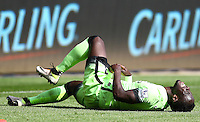 Bacary Sagna of Manchester City goes down injured during the Barclays Premier League match between Swansea City and Manchester City played at The Liberty Stadium, Swansea on 15th May 2016