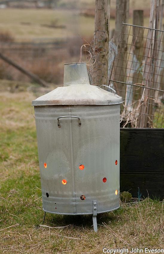 An incinerator in a garden, Lancashire.
