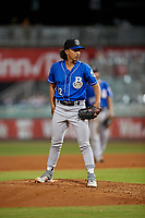 Biloxi Shuckers relief pitcher Aaron Kurcz (12) during a Southern League game against the Pensacola Blue Wahoos on May 3, 2019 at Admiral Fetterman Field in Pensacola, Florida.  Pensacola defeated Biloxi 10-8.  (Mike Janes/Four Seam Images)