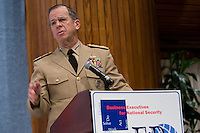 Slug: BENS- Mullen.Date: 06- 29 -- 2011.Photographer: Mark Finkenstaedt.Location: National Press Club, Washington, DC.Caption:  Admiral Mike Mullen,USN, Joint Chiefs of Staff Keynote address at the Business Executives for National Security National Press Club Event.