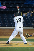 Keegan Maronpot (13) of the Wake Forest Demon Deacons at bat against the Kent State Golden Flashes in game two of a double-header at David F. Couch Ballpark on March 4, 2017 in Winston-Salem, North Carolina.  The Demon Deacons defeated the Golden Flashes 5-0.  (Brian Westerholt/Four Seam Images)