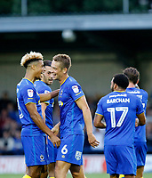 GOAL - AFC Wimbledon's Paul Robinson scores during the Carabao Cup match between AFC Wimbledon and Brentford at the Cherry Red Records Stadium, Kingston, England on 8 August 2017. Photo by Carlton Myrie.