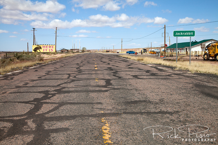 Route 66 and the billboard marking the location of the Jackrabbit trading post on Route 66 in Joseph City, Arizona