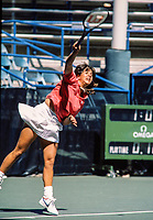 August 30, 1984, New York, USA, US Open, Niurka Sodupe (USA) serves<br /> Photo: Tennisimages/Henk Koster