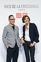 (L to R) Uniqlo Creative Director Naoki Takizawa and fashion designer Ines de la Fressange, pose for the cameras during a media event for Uniqlo x Ines de La Fressange AW17 collection, on September 5, 2017, Tokyo, Japan. Japanese casual clothing chain Uniqlo and French fashion icon Ines de la Fressange are collaborating with a Fall/Winter 2017 collection which is being sold in selected Uniqlo stores from September 1st. (Photo by Rodrigo Reyes Marin/AFLO)