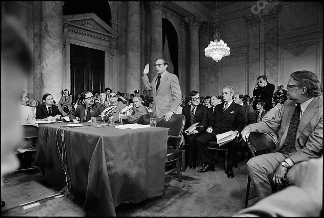 Former Nixon White House counsel John Dean at the congressional hearings investigating the Watergate cover-up. Washington DC, USA June 1973