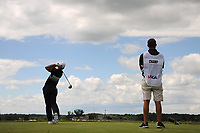 Cameron Champ (a)(USA) watches his tee shot on 7 during Sunday's round 4 of the 117th U.S. Open, at Erin Hills, Erin, Wisconsin. 6/18/2017.<br /> Picture: Golffile | Ken Murray<br /> <br /> <br /> All photo usage must carry mandatory copyright credit (&copy; Golffile | Ken Murray)