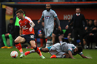 Jordan Cook of Luton Town and Brandon Comley of Grimsby Town during the Sky Bet League 2 match between Luton Town and Grimsby Town at Kenilworth Road, Luton, England on 10 September 2016. Photo by Harry Hubbard / PRiME Media Images.