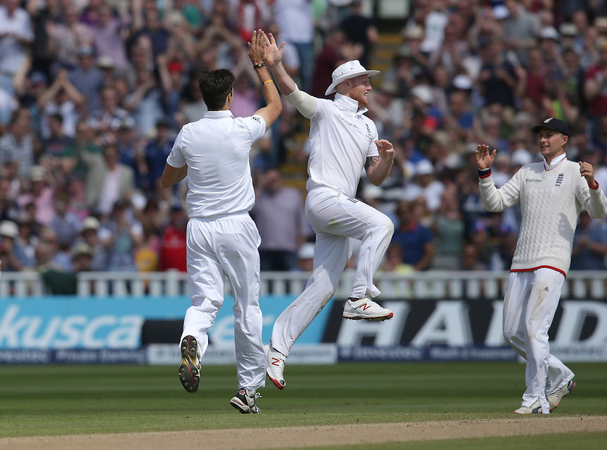 England's Steven Finn celebrates taking the wicket of Australia's Peter Nevill with team-mate Ben Stokes - PM Nevill  c  Buttler b Finn 59<br /> <br /> Photographer Stephen White/CameraSport<br /> <br /> International Cricket - Investec Ashes Test Series 2015 - Third Test - England v Australia - Day 3 - Friday 31st July 2015 - Edgbaston - Birmingham <br /> <br /> &copy; CameraSport - 43 Linden Ave. Countesthorpe. Leicester. England. LE8 5PG - Tel: +44 (0) 116 277 4147 - admin@camerasport.com - www.camerasport.com