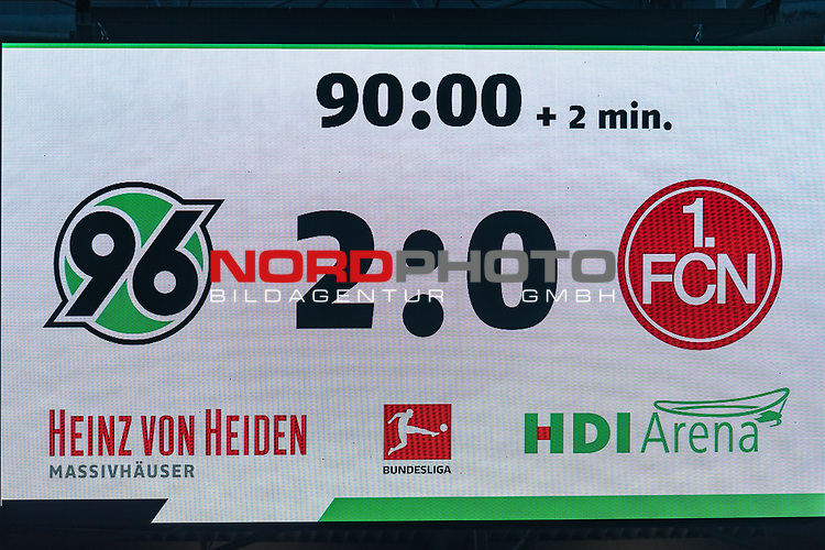09.02.2019, HDI Arena, Hannover, GER, 1.FBL, Hannover 96 vs 1. FC Nuernberg<br /> <br /> DFL REGULATIONS PROHIBIT ANY USE OF PHOTOGRAPHS AS IMAGE SEQUENCES AND/OR QUASI-VIDEO.<br /> <br /> im Bild / picture shows<br /> Anzeigetafel / Endstand, Feature, <br /> <br /> Foto © nordphoto / Ewert