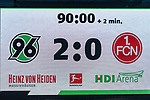 09.02.2019, HDI Arena, Hannover, GER, 1.FBL, Hannover 96 vs 1. FC Nuernberg<br /> <br /> DFL REGULATIONS PROHIBIT ANY USE OF PHOTOGRAPHS AS IMAGE SEQUENCES AND/OR QUASI-VIDEO.<br /> <br /> im Bild / picture shows<br /> Anzeigetafel / Endstand, Feature, <br /> <br /> Foto &copy; nordphoto / Ewert
