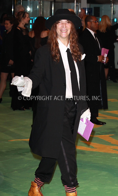 "WWW.ACEPIXS.COM . . . . .  ..... . . . . US SALES ONLY . . . . .....February 25 2010, New York City....Patti Smith at the UK premiere of ""Alice in Wonderland"" on February 25 2010 in London......Please byline: FAMOUS-ACE PICTURES... . . . .  ....Ace Pictures, Inc:  ..tel: (212) 243 8787 or (646) 769 0430..e-mail: info@acepixs.com..web: http://www.acepixs.com"