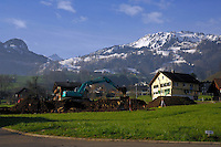 Building plot in Beckenreid with green countryside with snowcapped mountains in the background, Beckenreid, Luzern area, Switzerland.