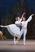 22/07/2014. London, England. Pictured: Shiori Kase as Swanilda and Yonah Acosta as Franz. Working stage rehearsal of Coppélia with the English National Ballet at the London Coliseum. With Shiori Kase as Swanilda and Yonah Acosta as Franz. Choreography by Ronald Hynd after Marius Petipa to music by Léo Delibes. Music performance by the Orchestra of the English National Ballet conducted by Gavin Sutherland. Photo credit: Bettina Strenske