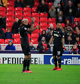 2nd December 2017, bet365 Stadium, Stoke-on-Trent, England; EPL Premier League football, Stoke City versus Swansea City; Leroy Fer and Jordan Ayew of Swansea City mess up a pass