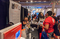 A representative from Piper explains their home security system at the Techweek expo in New York event on Thursday, October 15, 2015. Thousands of visionaries and entrepreneurs attended to network with established and start-up technology companies. (© Richard B. Levine)