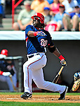 15 March 2009: Washington Nationals' outfielder Lastings Milledge at bat during a Spring Training game against the Detroit Tigers at Space Coast Stadium in Viera, Florida. The Tigers shut out the Nationals 3-0 in the Grapefruit League matchup. Mandatory Photo Credit: Ed Wolfstein Photo